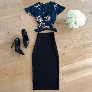Tie Crop and Bodycon Midi Skirt